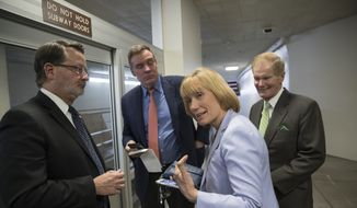 From left, Rep. Gary Peters, D-Mich., Sen. Mark Warner, D-Va., Sen. Maggie Hassan, D-N.H., and Sen. Bill Nelson, D-Fla., return to the Capitol after a meeting of moderate senators on Day 2 of the federal shutdown, at the Capitol in Washington, Sunday, Jan. 21, 2018. (AP Photo/J. Scott Applewhite) ** FILE **