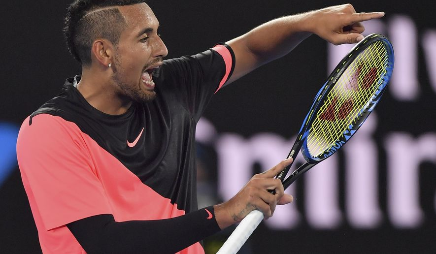Australia's Nick Kyrgios yells in frustration during his fourth round match against Bulgaria's Grigor Dimitrov at the Australian Open tennis championships in Melbourne, Australia Sunday, Jan. 21, 2018.(AP Photo/Andy Brownbill)
