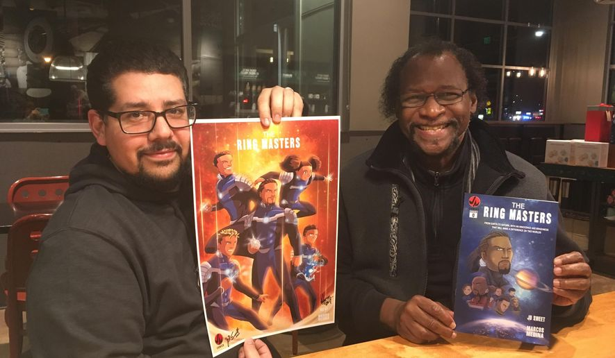 "This Jan. 5, 2018 photo shows  Central Kitsap School District history teacher JD Sweet, right, and Marcos Medina showing artwork for the comic ""The Ring Masters"" in Bremerton, Wash.  The illustration features a team of young black superheroes. The preview issue was published in November 2017. The first issue is due out in March.  (Chris Henry/Kitsap Sun via AP)"