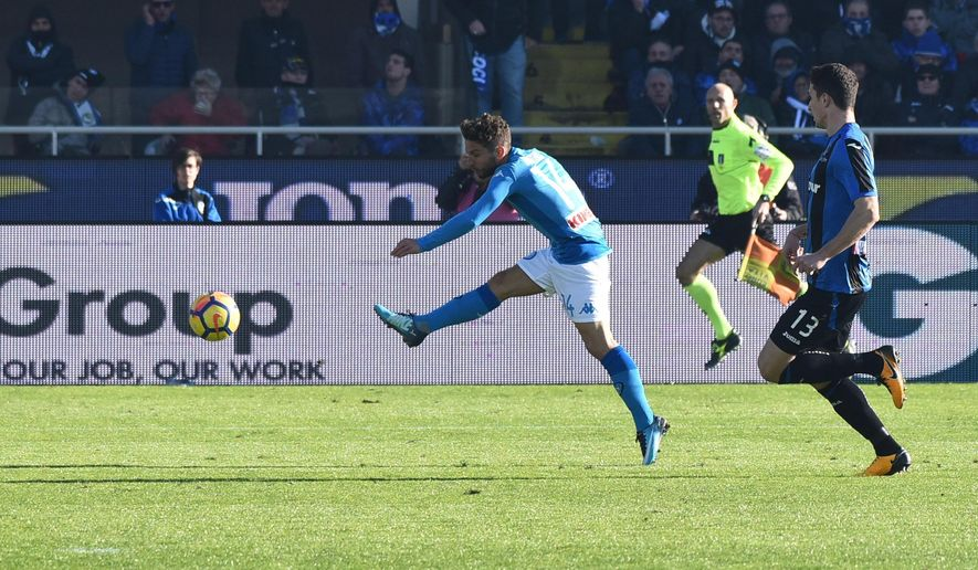 Napoli's Dries Mertens scores during the Serie A soccer match between Atalanta and Napoli at the Atleti Azzurri d'Italia stadium in Bergamo, Italy, Sunday, Jan. 21, 2018. (Paolo Magni/ANSA via AP)