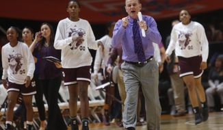 Mississippi State head coach Vic Schaefer congratulates his team as they head toward the bench during a timeout in the first half of an NCAA college basketball game against Tennessee on Sunday, Jan. 21, 2018, in Knoxville, Tenn. (AP Photo/Crystal LoGiudice)
