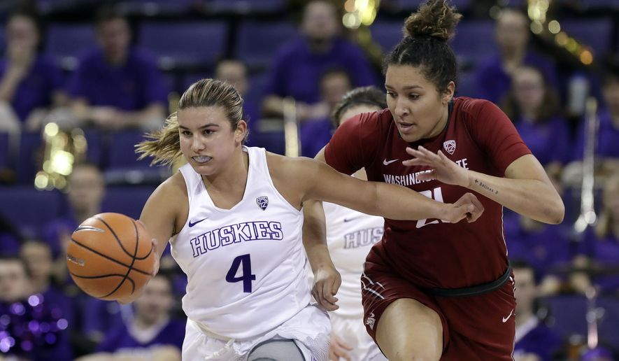 Washington's Amber Melgoza (4) drives just ahead of Washington State's Nike McClure in the first half of an NCAA college basketball game Sunday, Jan. 21, 2018, in Seattle. (AP Photo/Elaine Thompson)