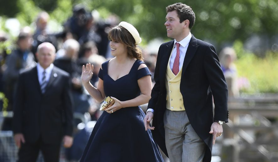 In this Saturday, May 20, 2017, file photo, Britain's Princess Eugenie and her partner Jack Brooksbank arrive for the wedding of Pippa Middleton and James Matthews at St Mark's Church in Englefield, England. Buckingham Palace said Monday Jan. 22, 2018, Princess Eugenie, the daughter of Prince Andrew and his ex-wife Sarah Ferguson, will marry Jack Brooksbank in Autumn 2018. (Justin Tallis/Pool Photo via AP, File)