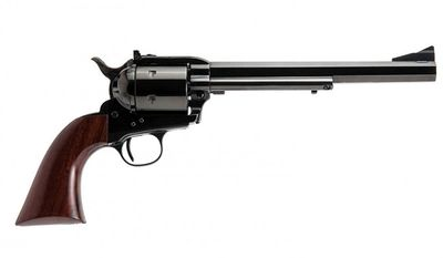 Cimarron Firearms Bad Boy .44 Mag. Revolver has a modern classic design with it's octagon barrel, Pre-War frame, Army grip, and flat top with adjustable sights. Other features include a non-fluted cylinder, adjustable target sights and smooth hardwood grip panels.
