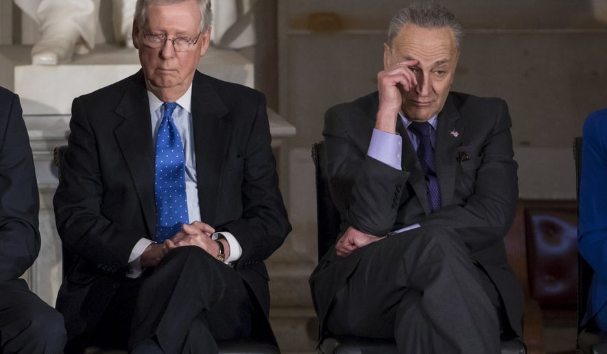 In this photo from Wednesday, Jan. 17, 2018, Senate Majority Leader Mitch McConnell, R-Ky., left, and Senate Minority Leader Chuck Schumer, D-N.Y., sit together to honor former Sen. Bob Dole, at the Capitol in Washington, Wednesday, Jan. 17, 2018.  (AP Photo/J. Scott Applewhite)
