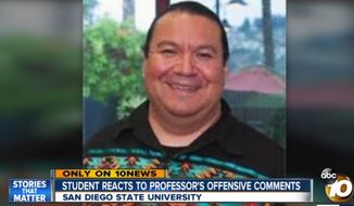 San Diego State University scholar Oscar Monge was dropped from the school's spring 2018 semester. A report by the California Attorney General's office recently concluded that he discriminated against a white student. (Image: ABC-10 San Diego screenshot) ** FILE **