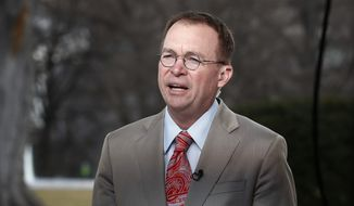 Director of the Office of Management and Budget Mick Mulvaney talks during a television interview outside the White House in Washington, Monday, Jan. 22, 2018. (AP Photo/Carolyn Kaster)
