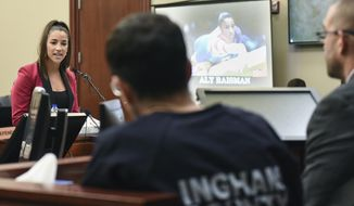 Former Olympian Aly Raisman confronts Larry Nassar in Circuit Judge Rosemarie Aquilina's courtroom during the fourth day of a sentencing hearing for the former sports doctor, who pled guilty to multiple counts of sexual assault, Friday, Jan. 19, 2018, in Lansing, Mich. (Matthew Dae Smith /Lansing State Journal via AP)