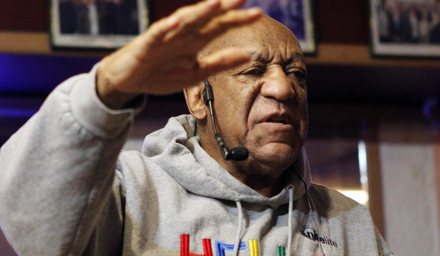 Bill Cosby performs comedy at the LaRose Jazz Club in Philadelphia on Monday, Jan. 22, 2018. It was his first public performance since his last tour ended amid protests in May 2015. Cosby has denied allegations from about 60 women that he drugged and molested them over five decades. He faces an April retrial in the only case to lead to criminal charges. (AP Photo/Michael R. Sisak)