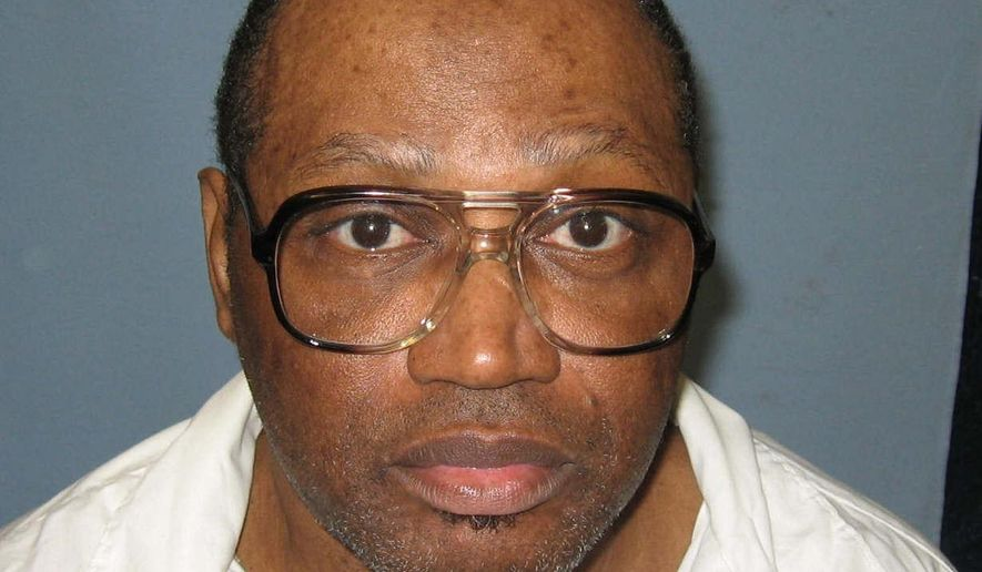 FILE - This undated file photo provided by the Alabama Department of Corrections shows a police mug shot of Vernon Madison, who is scheduled to be executed for the 1985 murder of Mobile police officer Julius Schulte on Thursday. Alabama is asking the U.S. Supreme Court to let it proceed with this week's scheduled execution of the 67-year-old inmate whose lawyers say can no longer remember his crime. The Alabama attorney general's office told justices in a filing Monday that the state's high court last year ruled the execution could proceed and should do so again. (Alabama Department of Corrections, via AP, File)