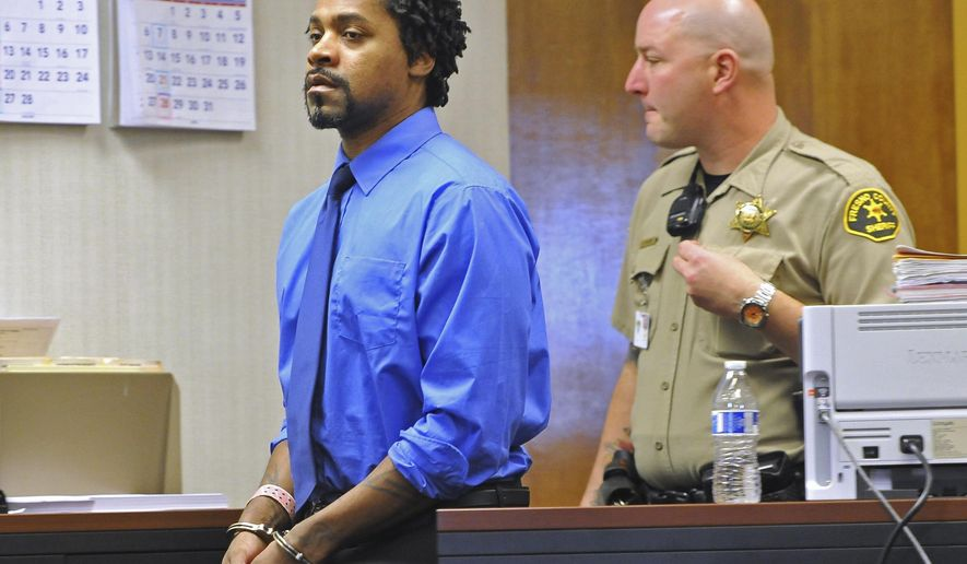 Kori Ali Muhammad is led into a courtroom Monday, Jan. 21, 2018, for a competency hearing in Fresno, Calif. A Northern California judge says Kori Ali Muhammad, charged with killing four people and shooting at three others in April is mentally fit to stand trial. A Fresno County judge rejected Kori Ali Muhammad's arguments that he has been diagnosed with paranoid schizophrenia and was not sane at the time of the shootings. (John Walker/Fresno Bee via AP)
