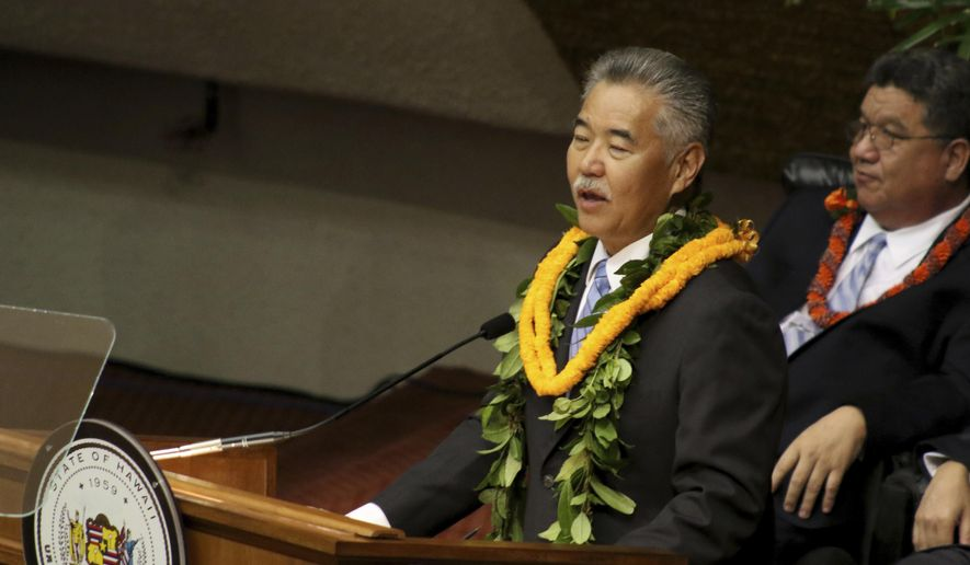 Hawaii Gov. David Ige delivers his annual State of the State address in Honolulu on Monday, Jan. 22, 2018. (AP Photo/Jennifer Sinco Kelleher) ** FILE **