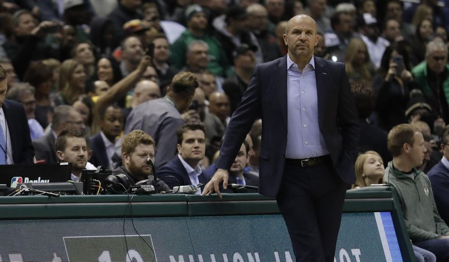 Milwaukee Bucks head coach Jason Kidd watches during the first half of an NBA basketball game against the Miami Heat Wednesday, Jan. 17, 2018, in Milwaukee. (AP Photo/Morry Gash) **FILE**