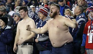 New England Patriots fans cheer during the second half of the AFC championship NFL football game between the Patriots and the Jacksonville Jaguars, Sunday, Jan. 21, 2018, in Foxborough, Mass. (AP Photo/Winslow Townson)