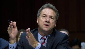 FILE - In this Sept. 7, 2017 file photo, Montana Governor Steve Bullock speaks before a U.S. Senate committee Capitol Hill in Washington. The Democrat is considered a potential 2020 presidential hopeful. ( AP Photo/Jose Luis Magana, File )