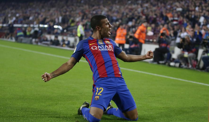 "FILE - In this Saturday, Oct. 29, 2016 file photo, Barcelona's Rafinha reacts after scoring during the Spanish La Liga soccer match between FC Barcelona and Granada at the Camp Nou in Barcelona, Spain. Inter Milan has completed the signing of Barcelona midfielder Rafinha on loan until the end of the season, with a view to a permanent move. Inter says on Monday, Jan. 22, 2018 it has the option of signing the Brazil international permanently for 35 million euros ($43 million) plus 3 million euros ($3.7 million) in bonuses but that ""must be taken up before the end of the current season."" (AP Photo/Manu Fernandez, File)"