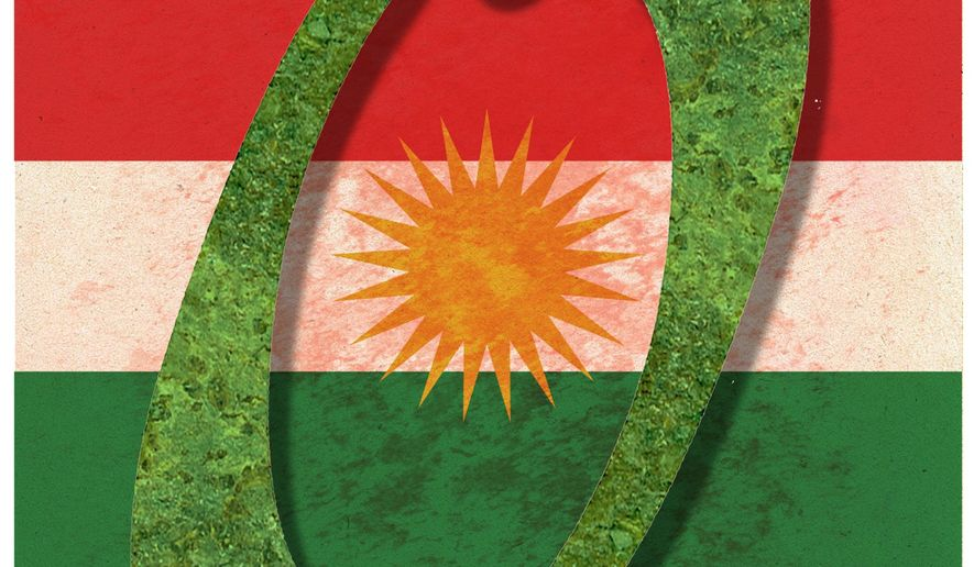 Illustration on Iranian and Turkish aggression against the Kurds by Alexander Hunter/The Washington Times