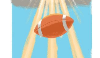Illustration on football and the divine by Linas Garsys/The Washington Times