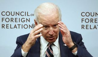 Former Vice President Joe Biden speaks about U.S. relations with the Kremlin at the Council on Foreign Relations, Tuesday, Jan. 23, 2018, in Washington. (AP Photo/Alex Brandon)