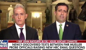 Reps Trey Gowdy and John Ratcliffe spoke with Fox News Channel's Martha MacCallum on Jan. 22, 2018. (Image: Fox News screenshot)