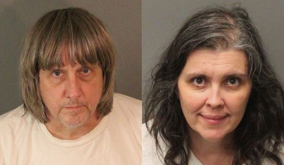 These undated photos provided by the Riverside County Sheriff's Department show David Allen Turpin, left, and Louise Anna Turpin. More than $120,000 has been donated to help 13 siblings in California who authorities say were kept chained to beds for months by their parents, the Turpins, and starved so much that their growth was stunted. (Riverside County Sheriff's Department via AP, File)