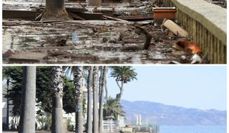 This combination of photos shows debris and mud piled up at Butterfly Beach, top, after heavy rain brought flash flooding in Montecito, Calif., on Jan. 9, 2018, and beach after clean up taken from a similar view on Monday, Jan. 22, bottom. (AP Photo/Daniel Dreifuss)