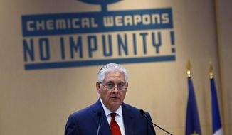 U.S. Secretary of State Rex Tillerson delivers a speech during a foreign ministers' meeting on the International Partnership against Impunity for the Use of Chemical Weapons, in Paris, Tuesday, Jan. 23, 2018. The United States and 28 other countries are launching a new plan to better identify and punish anyone who uses chemical weapons, amid new reports of a suspected chemical attack in Syria. (AP Photo/Thibault Camus)