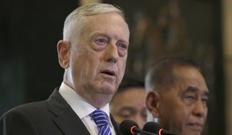 U.S. Defense Secretary Jim Mattis speaks as his Indonesian counterpart Ryamizard Ryacudu, right, listens during a joint press conference following their meeting in Jakarta, Indonesia, Tuesday, Jan. 23, 2018. Mattis said the Trump administration wants to help Indonesia play a central role in maritime security in the Asia-Pacific region. (AP Photo/Tatan Syuflana)