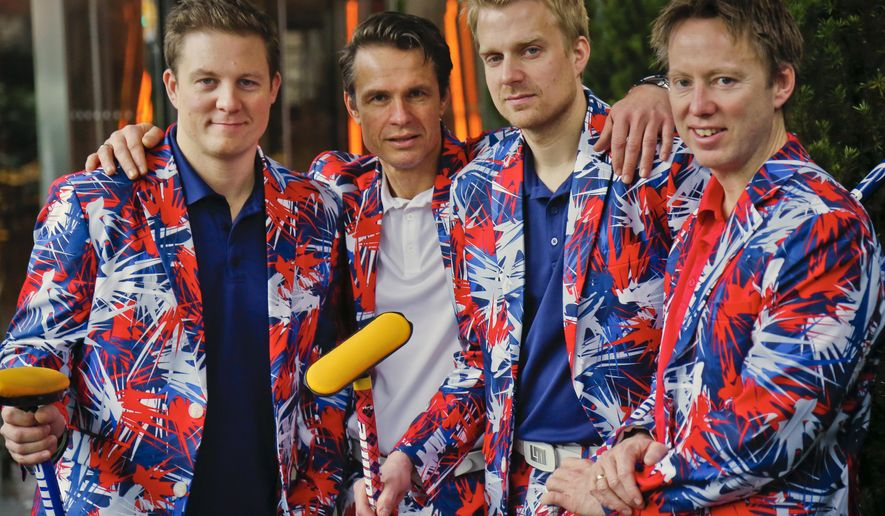 Members of the Norwegian men's Olympic curling team, from left, Christoffer Svae, Thomas Ulsrud, Haavard Peterson and Torger Nergaard pose in their unique uniforms, Tuesday Jan. 23, 2018, in New York. The team is expected to be a fan favorite for a third straight Olympics, thanks to the brightly colored pants that stand out. (AP Photo/Bebeto Matthews)