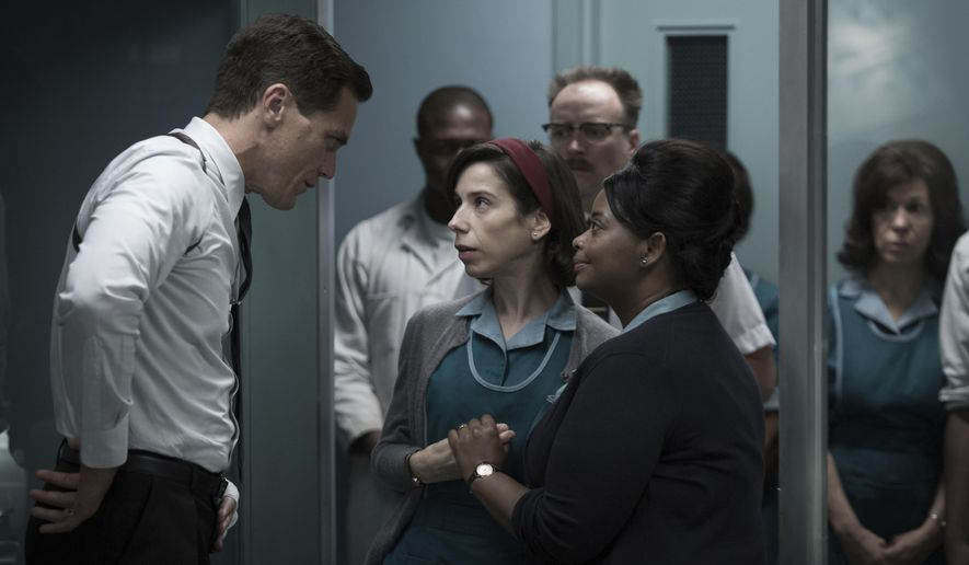 "This image released by Fox Searchlight Pictures shows Michael Shannon, from left, Sally Hawkins and Octavia Spencer in a scene from the film, ""The Shape of Water."" Guillermo del Toro's Cold War fantasy tale will vie for the most nominations for the 90th annual Academy Awards. (Fox Searchlight Pictures via AP)"