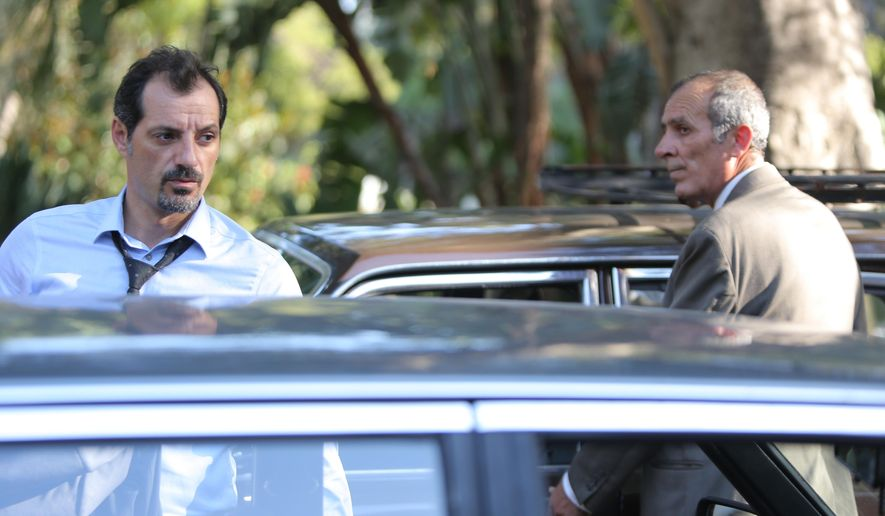 "This image released by Cohen Media Group shows Adel Karam, left, and Kamel El Basha in a scene from ""The Insult."" The film was nominated for an Oscar for best foreign picture on Tuesday, Jan. 23, 2018. The 90th Oscars will air live on ABC on Sunday, March 4. (Cohen media Group via AP)"