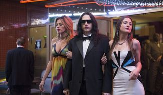 "This image released by A24 shows James Franco in a scene from ""The Disaster Artist."" Franco failed to receive an Oscar nomination for best actor on Tuesday, Jan. 23, 2018.  (Justina Mintz/A24 via AP)"