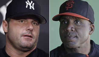 FILE - At left is a 2007 file photo showing New York Yankees baseball player Roger Clemens. At right is a 2014 file photo showing former San Francisco Giants baseball player Barry Bonds. Bonds and Clemens will probably have to wait a little longer to get into the Baseball Hall of Fame.  (AP Photo/File)