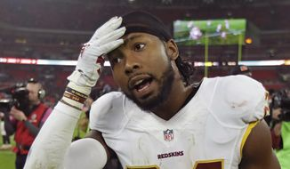 In a Sunday, Oct. 30, 2016, file photo, Washington Redskins cornerback Josh Norman (24) leaves the field after an NFL Football game against Cincinnati Bengals at Wembley Stadium in London. (AP Photo/Matt Dunham, File)