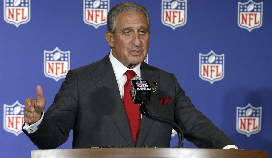 "FILE - In this May 24, 2016, file photo, Atlanta Falcons owner Arthur Blank talks about his city's successful bid following a vote that awarded the Super Bowl to Atlanta, which will host the game in 2019, at the NFL owner's meeting in Charlotte N.C. The NFL has established a player-owner committee focusing on social and racial justice initiatives. The league also said Tuesday, Jan. 23, 2018, it is beginning a ""Let's Listen Together"" campaign that includes digital content and commercials highlighting player-led work on equality issues. That platform will include social media support and letters from players and owners. Owners on the committee are Arizona's Michael Bidwill, Atlanta's Arthur Blank, Jacksonville's Shahid Khan, Cleveland's Jimmy Haslam and Miami's Stephen Ross. Current players Josh McCown, Josh Norman, and Kelvin Beachum, Pro Football Hall of Famer Aeneas Williams and former player Anquan Boldin are on the committee. (AP Photo/Bob Leverone, File)"