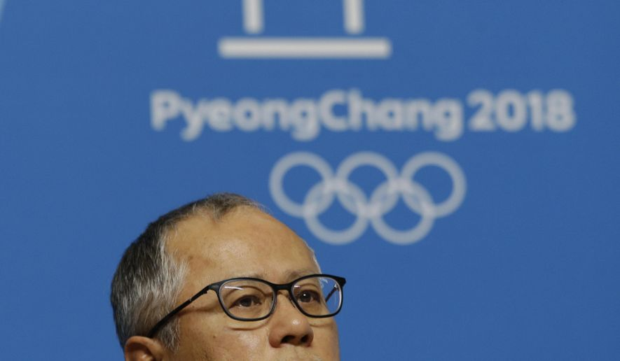 Song Seung-whan, executive creative director for the 2018 Pyeongchang Winter Olympic Ceremonies, attends a press conference at the Main Press Center in Pyeongchang, South Korea, Tuesday, Jan. 23, 2018. A team of South Korean officials travelled to North Korea on Tuesday to check logistics for joint events ahead of next month's Winter Olympics in the South, as the rivals exchanged rare visits to each other amid signs of warming ties. (AP Photo/Ahn Young-joon)