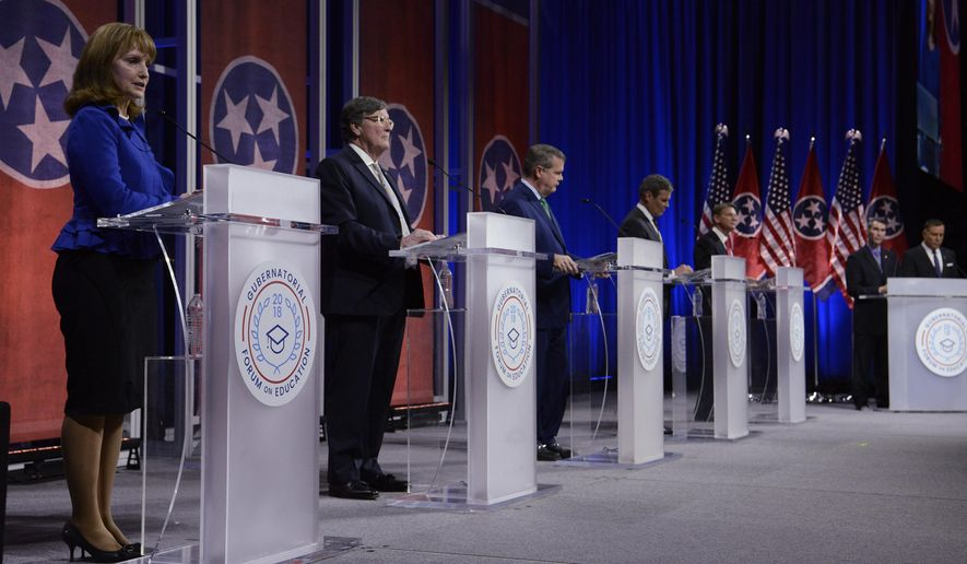 Gubernatorial candidates Republican Beth Harwell, Democrat Craig Fitzhugh, Democrat Karl Dean, Republican Bill Lee and Republican Randy Boyd answer questions from moderators David Plazas and Rory Johnston during the Gubernatorial Forum on Education at Belmont University in Nashville, Tenn., Tuesday, Jan. 23, 2018. (George Walker IV / The Tennessean via AP, Pool)