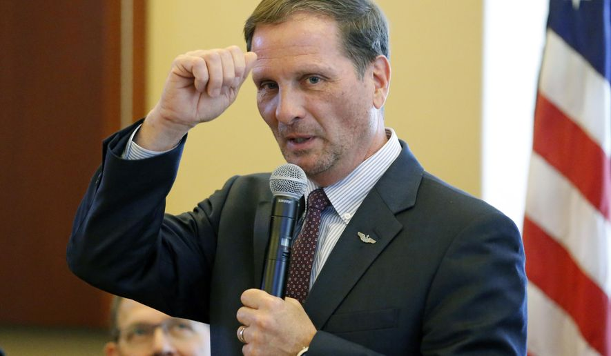 """Utah Republican Rep. Chris Stewart speaks before the House Republican Caucus Tuesday, Jan. 23, 2018, at the Utah State Capitol, in Salt Lake City. Stewart compared President Donald Trump's governing style to Rodney Dangerfield's golfer character in """"Caddyshack,"""" saying that while the president's style is """"very, very loud,"""" and distracting, he's able to do what he's trying to achieve. (AP Photo/Rick Bowmer)"""