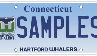 This image released Tuesday, Jan. 23, 2018, by the Connecticut Department of Motor Vehicles shows a commemorative license plate bearing the green and blue logo of the former Hartford Whalers NHL hockey team. Proceeds from sales of the plate will benefit a children's dialysis center in Hartford. The team left the state in 1997, becoming the Carolina Hurricanes. (Connecticut Department of Motor Vehicles via AP)
