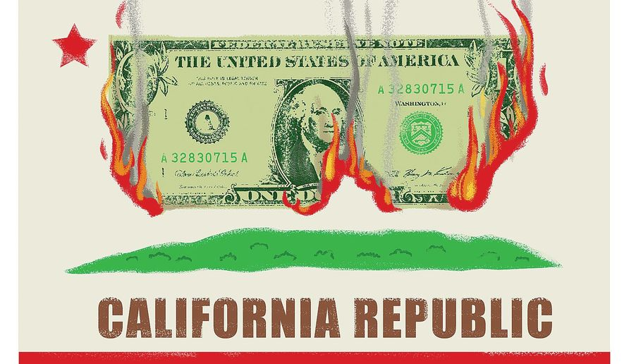 Illustration on California's criminally profligate ways by Linas Garsys/The Washington Times
