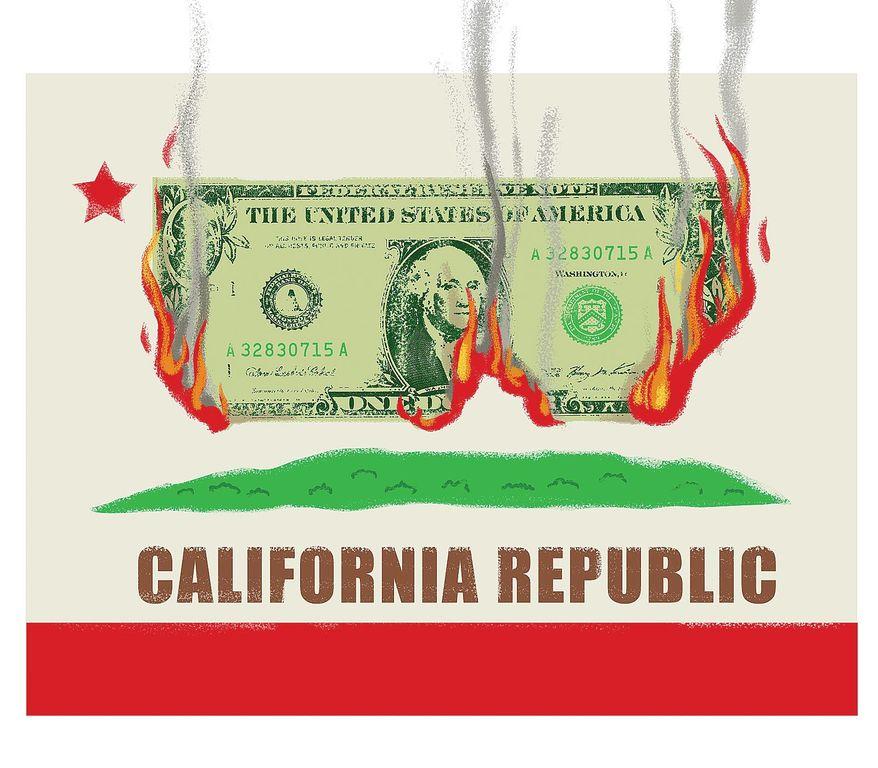 Illustration on California's criminally profligate ways by Linas Garsys/The Washington Times