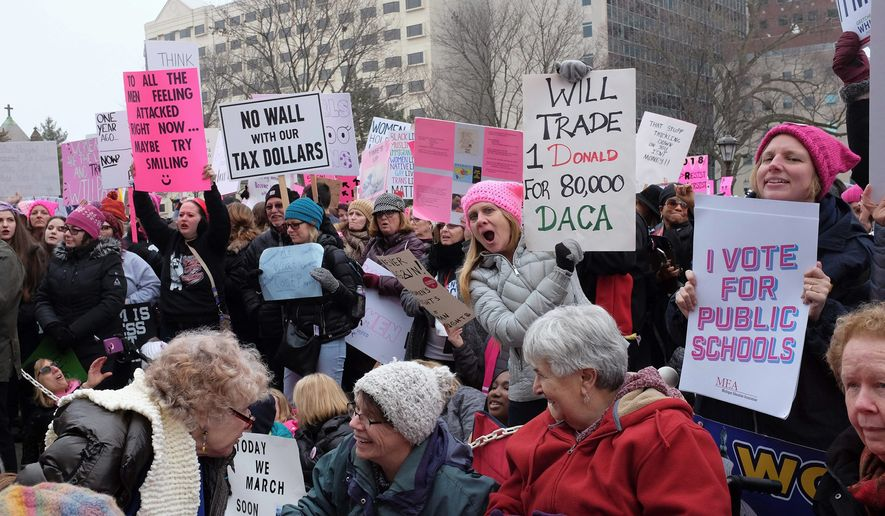 The 2018 Women's March across the U.S. on Saturday fell short of its historic predecessor from a year ago in terms of crowd size. (Associated Press)