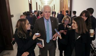 """While the president has made a very generous proposal our colleagues, Senator [Charles E.] Schumer or Senator [Richard] Durbin, have not so far responded with any counterproposal at all,"" said Sen. John Cornyn of Texas, the chamber's second-ranking Republican. (AP Photo/Pablo Martinez Monsivais)"