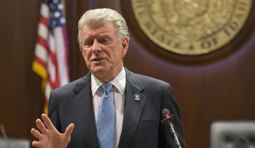 """In this Jan. 5, 2018, file photo, Idaho Gov. C.L. """"Butch"""" Otter speaks to reporters about the 2018 legislative session at the State Capitol in Boise, Idaho. (AP Photo/Otto Kitsinger, File)"""