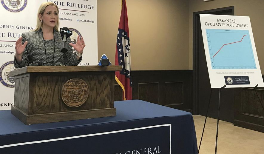 Arkansas Attorney General Leslie Rutledge speaks to reporters on Wednesday, January 24, 2018 in Little Rock, Ark., about the state's opioid crisis. Rutledge announced she has retained five law firms to help investigate and assist in potential legal action against drug manufacturers. (AP Photo/Andrew Demillo)
