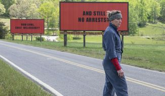 """This image released by Fox Searchlight shows Frances McDormand in a scene from """"Three Billboards Outside Ebbing, Missouri."""" The film was nominated for an Oscar for best picture on Tuesday, Jan. 23, 2018. The 90th Oscars will air live on ABC on Sunday, March 4. (Fox Searchlight via AP)"""