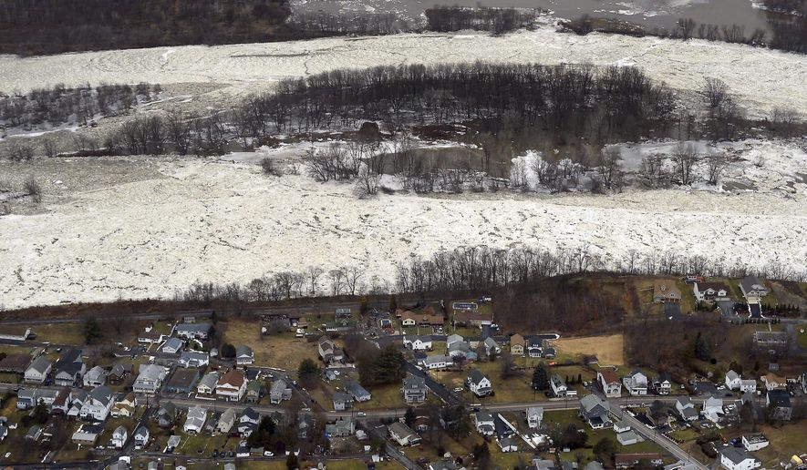 An ice jam snakes along the Susquehanna River for miles near Pittson, Pa., and Wilkes-Barre, Pa. on Wednesday, Jan. 24, 2018. ( Butch Comegys / The Times & Tribune via AP)