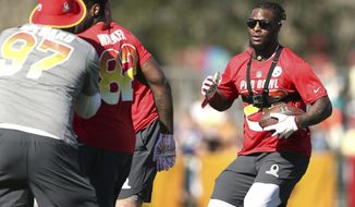 AFC running back Le'Veon Bell, of the Pittsburgh Steelers, goes through drills with a camera attached to his body during Pro Bowl NFL football practice, Wednesday, Jan. 24, 2018 in Kissimmee, Fla. (AP Photo/Doug Benc)