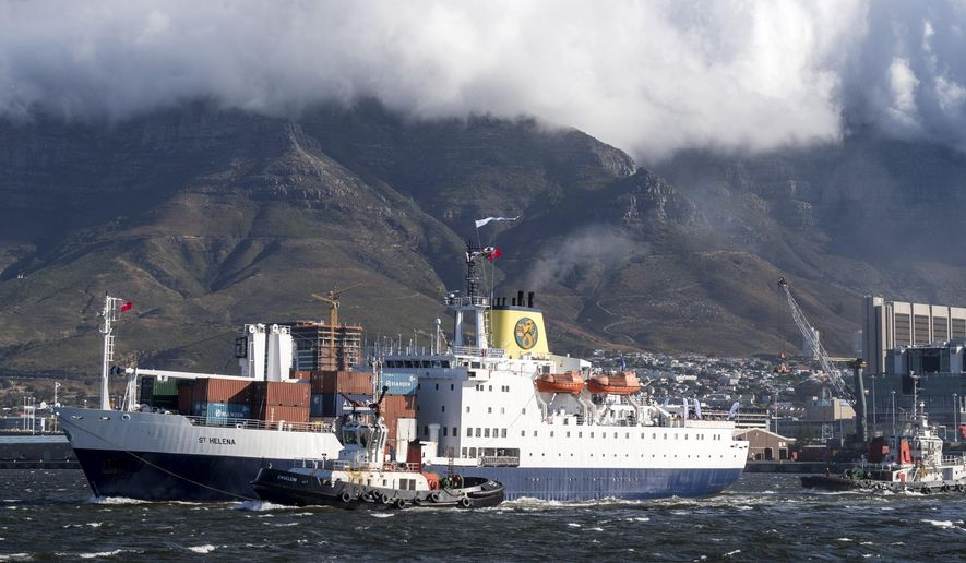 The Royal Mail Ship St. Helena leaves the South African city of Cape Town, South Africa, Wednesday, Jan. 24, 2018 on a final round-trip journey of three weeks to the British-ruled island of St. Helena. The ship that was once a lifeline to the outside world for St. Helena has begun its last voyage to the remote South Atlantic island where Napoleon died in exile. (AP Photo)