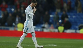 Real Madrid's Sergio Ramos leaves the pitch at the end of the Spanish Copa del Rey quarterfinal second leg soccer match between Real Madrid and Leganes at the Santiago Bernabeu stadium in Madrid, Wednesday, Jan. 24, 2018. Leganes won 2-1(AP Photo/Francisco Seco)
